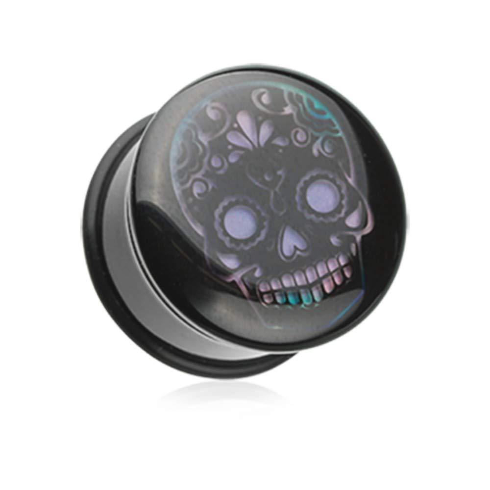 Multiple Sizes Available Thermotropic Sugar Skull Single Flared Mood Plug Davana Enterprises