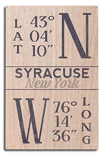Lantern Press Syracuse, New York - Latitude and Longitude (Blue) (10x15 Wood Wall Sign, Wall Decor Ready to Hang) (Latitude And Longitude Of New York Usa)
