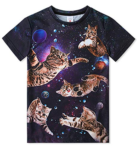 Big Girls Boys 3D Galaxy Cats Graphic Tees Shirts Fashion Tshirts Cool Summer Kitty Cat Top Shirts 14-16Y