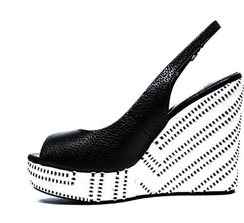 LUCIANO BARACHINI 6007 Un BIANC NER zapatos de las sandalias de la cuña, NUEVA COLECCIÓN PRIMAVERA VERANO 2016 DE CUERO BLANCO NEGRO