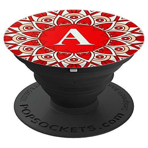 BOHO Red, Rust and Rose Gold Monogram - Letter A - PopSockets Grip and Stand for Phones and (Rust Rose Pedestal)