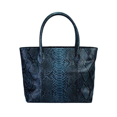 Genuine Grey Motif Python Leather Tote Bag