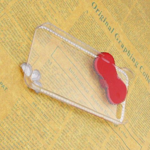 JewelryWe Für Iphone 5 5S Hülle Schale Tasche Etui Blind Strass Rot Schmettling Bogenknoten Case Cover Transparent