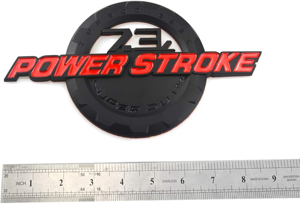 2 Pcs 7.3L POWER STROKE SUPER DUTY Side Fender Emblems Badge Powerstroke 3D logo Compatible for Ford F250 F350 Chrome
