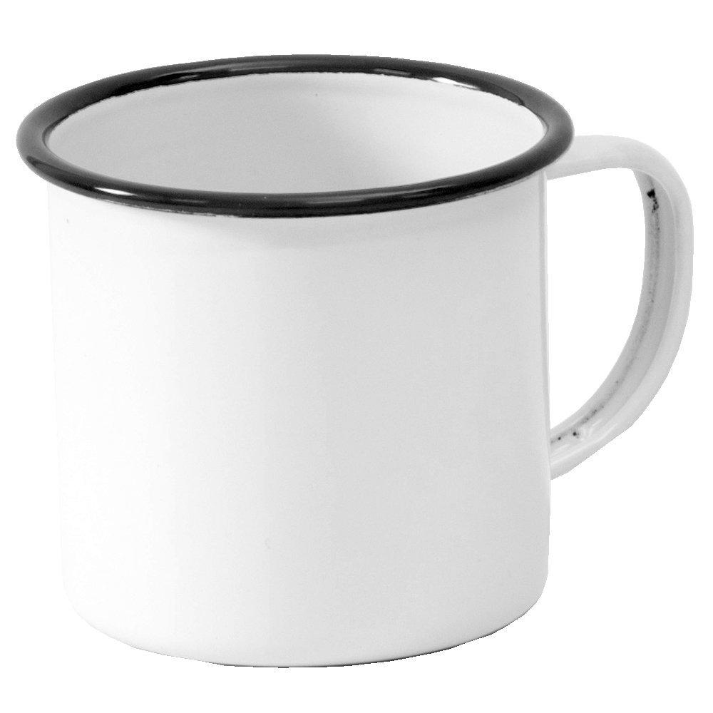 Enamelware Coffee Mug - Solid White with Black Rim