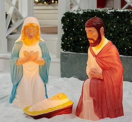Desconocido Luz hasta 3 Piezas Belén Sagrada Familia Navidad ...
