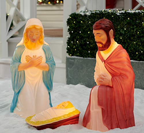 Light up 3 piece Nativity Scene Holy Family Set Christmas Decoration Durable (Large Lighted Nativity)