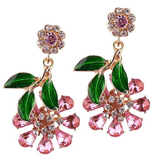 LARGE Rhinestone Crystals Statement Flower Drop Dangling Earrings Perfect Summer Earrings In Pink, Hot Pink, White, Aurora Borealis, and Navy Blue (Pink)