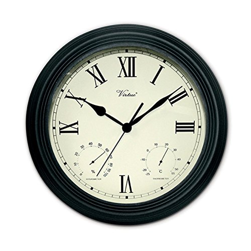 """12"""" Battery Operated Black Large Print Roman Numeral Outd..."""