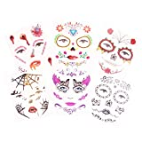 Day Of The Dead Halloween Temporary Tattoos Black Skull Flora Fake Costume Tattoo Kit - 6 Pack