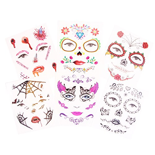 Halloween Costumes Day Of The Dead - Day Of The Dead Halloween Temporary Tattoos Black Skull Flora Fake Costume Tattoo Kit - 6 Pack