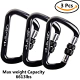 CBTONE 30KN Locking Climbing Carabiner, 3 Pack D-shaped Screwgate Locking Carabiners for Rock Climbing Rappelling - CE Certifie