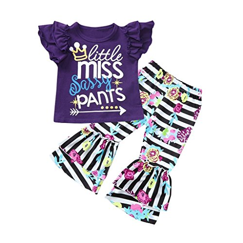 Baby Girls Clothes GoodLock Toddler Sleeveless Letter Print Tops+Floral Print Stripe Pants Clothes 2Pcs (Purple, 3T) from GoodLock_Baby Clothes