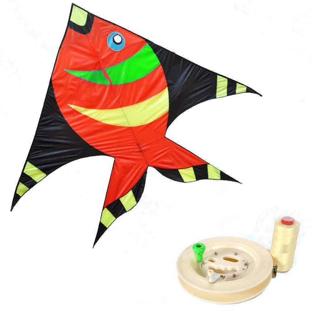 凧,カイトフライング 大人用大型子供用そよ風凧、プロ初心者用凧(リール付) 屋外のおもちゃを飛ばすのが簡単 (色 : D) B07QWDQ8GP F f  F f