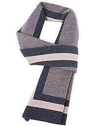 Panegy Men Muffle Winter Wool Scarves Long Stripe Shawl For Men-Orange