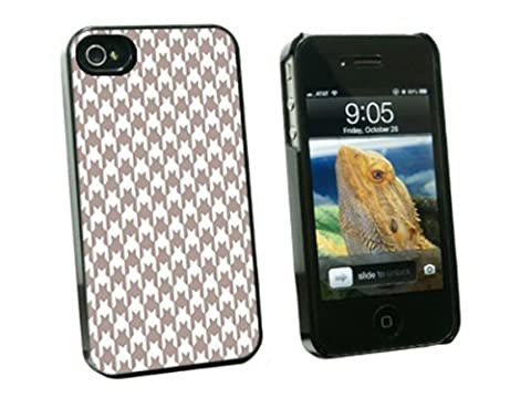 Graphics and More Preppy Houndstooth White Gray Snap-On Hard Protective Case for Apple iPhone 4/4S - Non-Retail Packaging - (Iphone 4 Case Preppy)