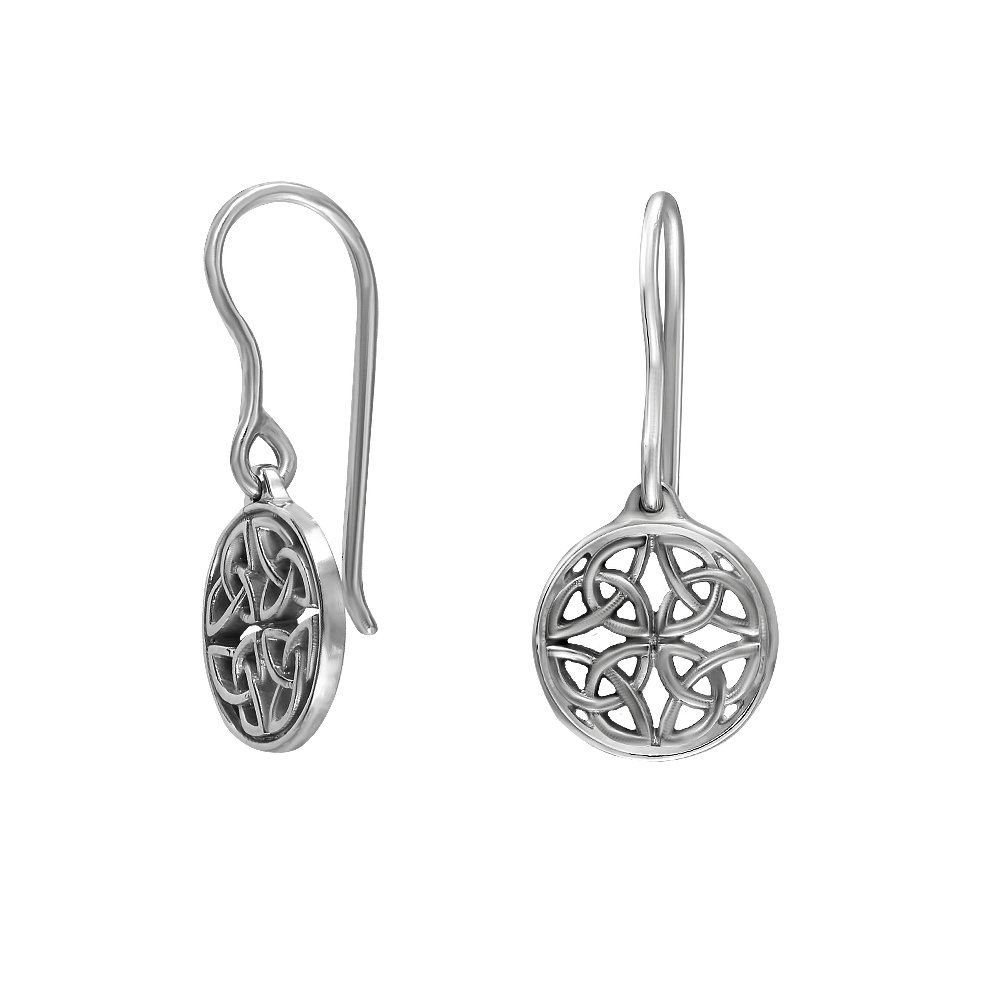 Sterling Silver Genuine Celtic Knot Round Drop Wire Earrings great collection