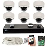 GW Security 5-Megapixel (2592 x 1920) 8 Channel PoE 4K NVR Security Camera System – 6 5MP Dome IP Video Audio Surveillance Weatherproof Microphone Cameras, 2.8-12mm Varifocal Zoom Lens For Sale