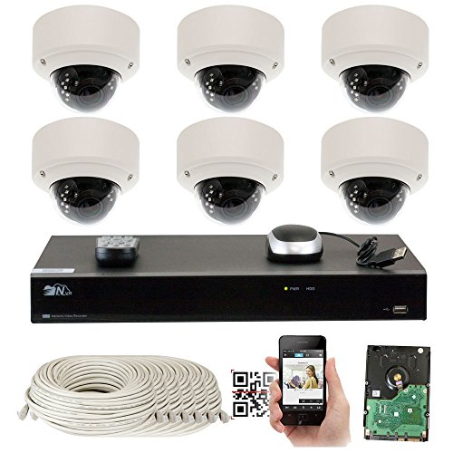 (GW Security 5-Megapixel (2592 x 1920) 8 Channel PoE 4K NVR Security Camera System - 6 5MP H.265 Dome Video Audio Surveillance Weatherproof Microphone IP Cameras, 2.8-12mm Varifocal Zoom Lens)