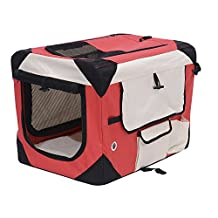PawHut D00-009RD 40.2-Inch Folding Dog Soft Crate Cage Pet Puppy Cat Carrier Kennel Portable Fabric Travel House (Red and Cream White)