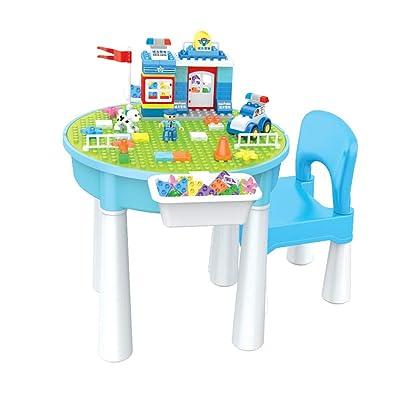 Canness-Games Mesa De Madera For Niños 3-6 Años Rompecabezas Gránulos Bloques De Construcción Mesa De Juguete Niña Niños Mesa Multifunción (Color : Circle Table, tamaño : 43x45cm): Hogar