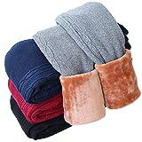 Govc Kids Girls Winter Warm Velvet Leggings Stretch Cotton Cable Knit Fleece Lined Pants Tights(Navy02,110)