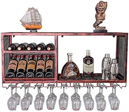 YJThjj Estante para Vino con Soporte de Vidrio |Botelleros para Vino de Madera montada en la Pared Metal |Soporte para Copa de Vino Colgante |Porta Botellas de Vino suspendido |Cubo de Estante d