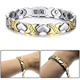 hsn_zem Silver Gold Tone Stainless Steel Heart Magnetic Stone Womens Bracelet Chain Link