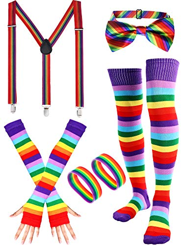 (Rainbow Accessories Set, Include Bow-tie, Suspenders, Socks, Gloves, Bracelets (Adult Size, Color)