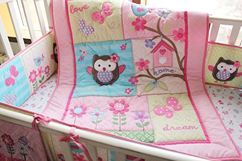 NAUGHTYBOSS Girl Baby Bedding Set Cotton 3D Embroidery Owl Bird Quilt Bumper Bed Skirt Mattress Cover Urine bag 8 Pieces Set Pink Color by NAUGHTYBOSS