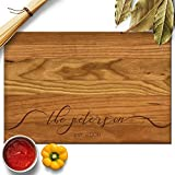 Froolu Lacy Monogram Wood Personalised Cutting Board Couples Gift Deal (Small Image)