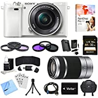 Sony Alpha a6000 White Camera with 16-50mm, 55-210mm Lenses and Accessories Bundle - Includes Camera, 2 Lenses, 2 Filter Kits, Memory Card, Software, Carrying Case, Battery, and More Advantages Review Image