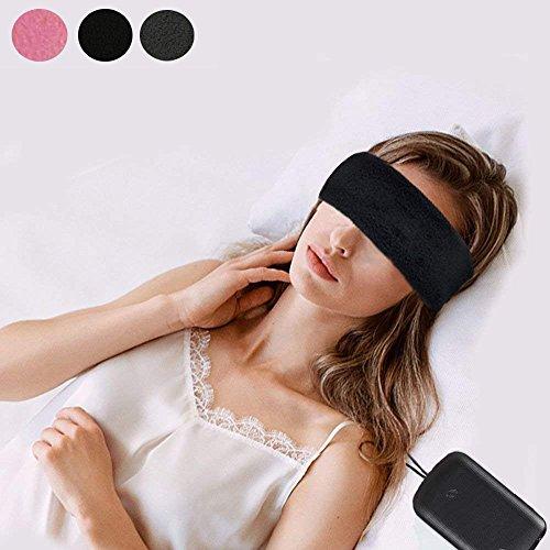 Sleep Eye Mask Headphones Blindfold Sleep Headsets Handsfree Travel Sleeping Headphones Eye Cover Built-in Speakers and Microphone-Perfect Sleeping, Sports, Air Travel, Meditation Relaxation(Black)