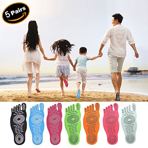 Gum 12 Mint (Jusinhel Beach Foot Pads for Barefoot Invisible Shoes Sticker Flexible Feet Protect Heatproof/Waterproof/Slideproof for Yoga Beach Swimming Surfing Summer Activities - 5 Pairs - Pink - XS)