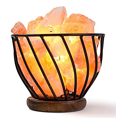 HemingWeigh Himalayan Salt Lamp Metal Bowl with Himalayan Salt Chips on Wooden Base With Electric Wire and Bulb Included