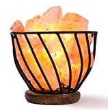 HemingWeigh Hand Carved Natural Air Purifying Himalayan Salt Rocks in Metal Basket on Wooden Base With Electric Wire & Bulb, Relaxing Amber Glow, UL/CE Certified