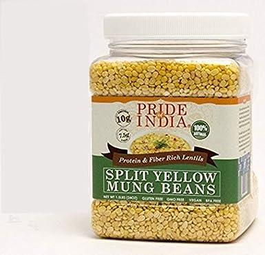 El orgullo de la India india proteína división de lentejas amarillas y rica en fibra mung dal moong frasco de 3 libras