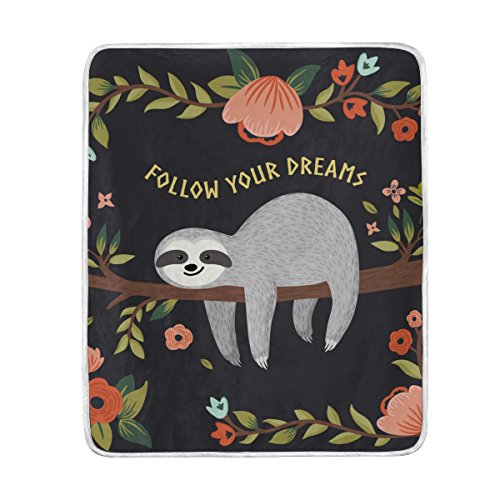 Cooper girl Cartoon Sloth In Flowers Jungle Throw Blanket Soft Warm Bed Couch Blanket Lightweight Polyester Microfiber 50x60 Inch