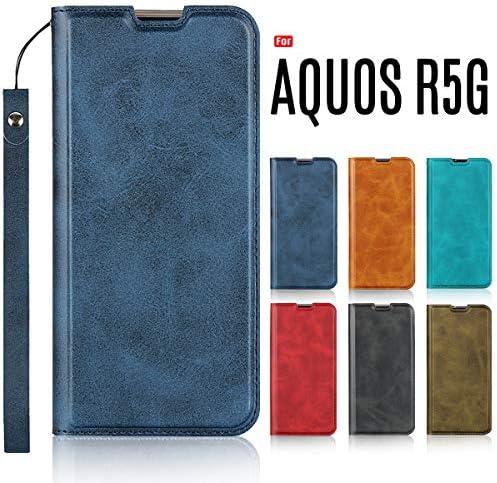 AQUOS R5G ケース 手帳型 ベルトなし ストラップ付き 薄型 マグネット開閉 閉じたまま通話 カード収納 スタンド機能