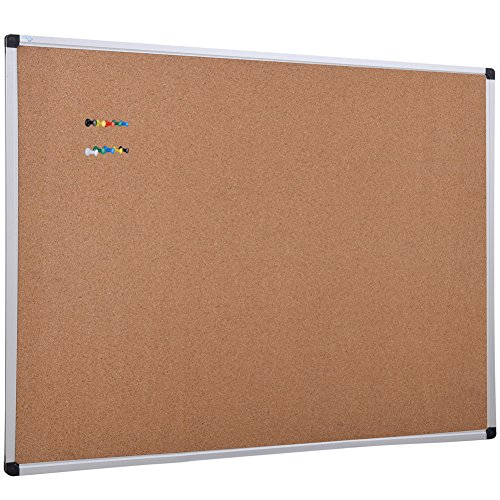XBoard Aluminum Frame Wall-Mounted 48 x 36 Inch Thick Cork Board Push Pin Boards for Display and Organization - Natural Cork Reversible Board