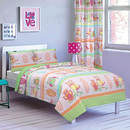 All American Collection New 2pc Printed Modern Bedspread Coverlet Set (Twin Bedspread, Pink/Green Owls)