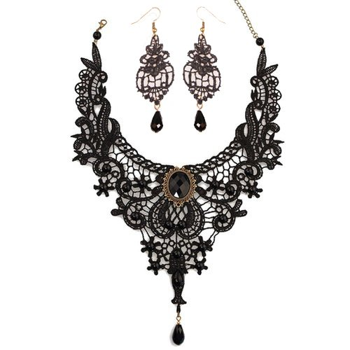 [Meiysh Black Lace Gothic Lolita Pendant Choker Necklace Earrings Set (style 001)] (Halloween Accessories)