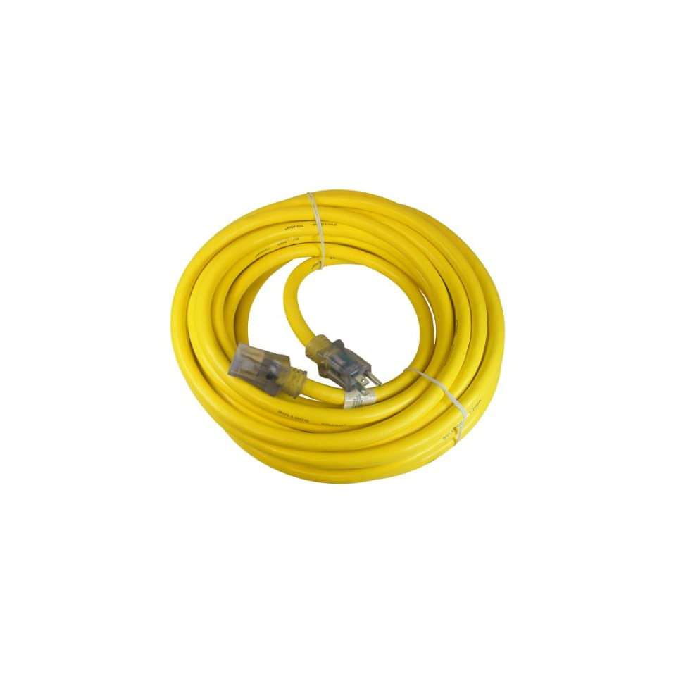 Prime Wire & Cable LT511930 50 Foot 10/3 SJTOW Bulldog Tough Ultra Heavy Duty Extension Cord with Prime Light Indicator Light, Yellow
