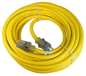 Prime Wire & Cable LT511930 50-Foot 10/3 SJTOW Bulldog Tough Ultra Heavy Duty Extension Cord with Prime Light Indicator Light, Yellow