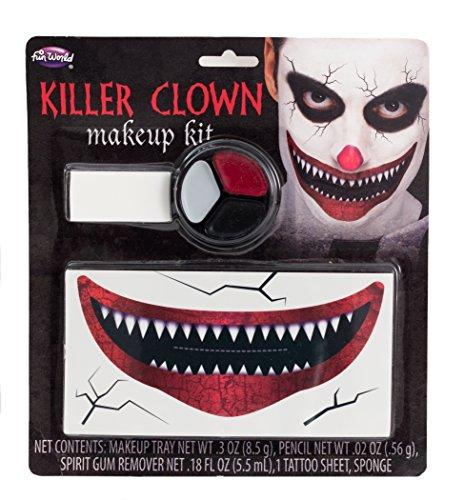 Fun World Unisex-Adult's Killer Clown Make-up Kit, Multi Standard