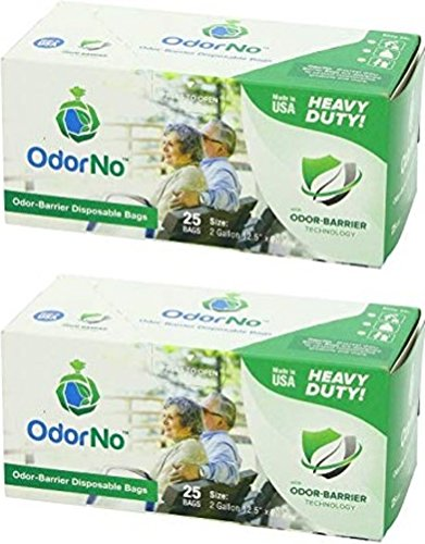 OdorNo ADU-2-4025 Odor-Barrier Disposable Bags; 2 Gallon Capacity; Green; Case of 250 Bags with 2 Boxes of 25 Bags Each; Biodegradable, Eco-Friendly, and Compostable; Made of FDA-Approved Plastics