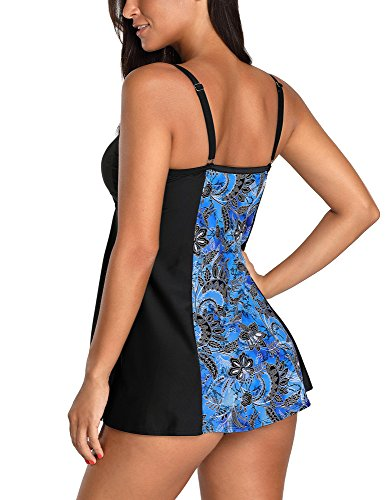 LookbookStore Women's One Piece Printed Swimdress Skirted Swimsuit Bathing Suits Size Small (US 4-6) Royal Blue