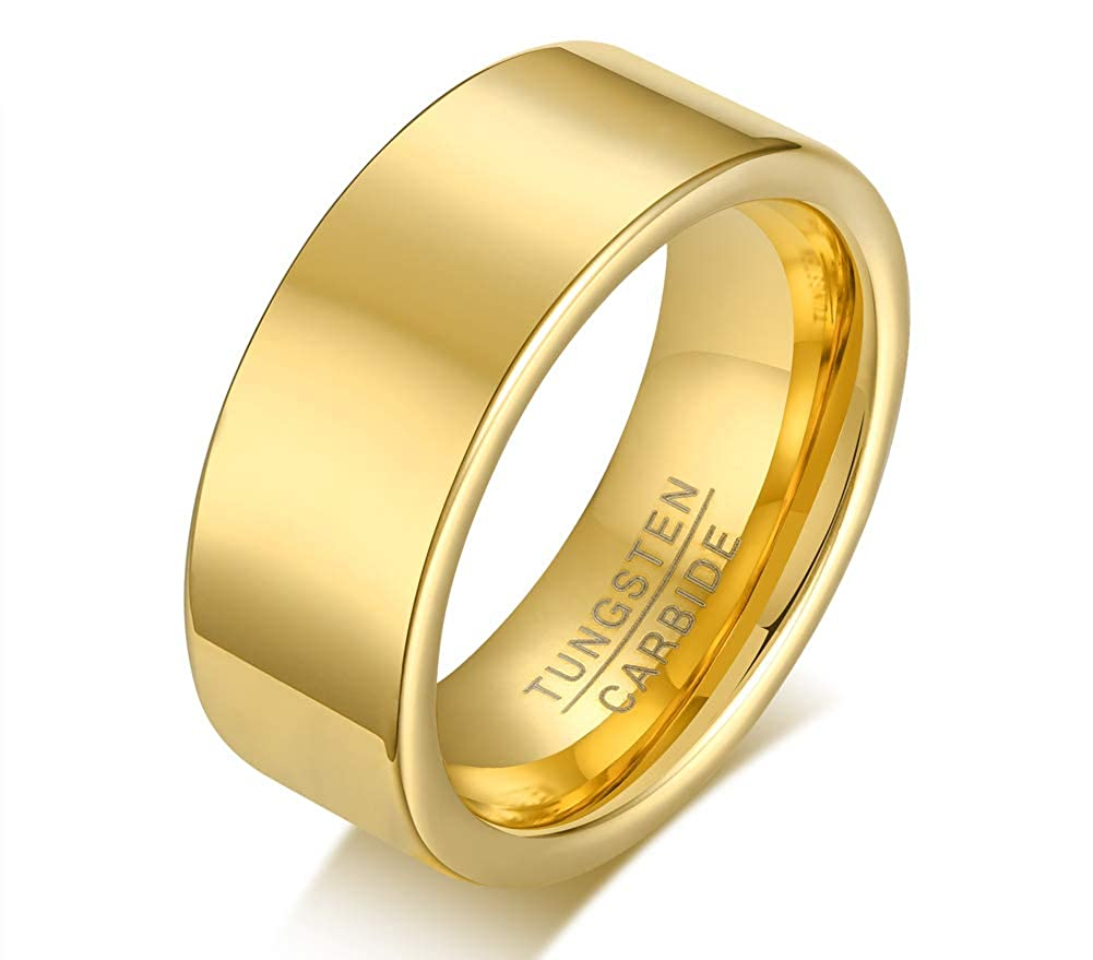 VNOX Tungsten Carbide Polished Domed Personalized Customized Name Date Wedding Band Ring for Men Women