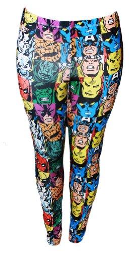Marvel Character Collage Ladies Basic Leggings - Medium -