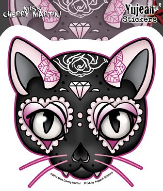(Miss Cherry Martini - Pink Cat - Sticker / Decal)